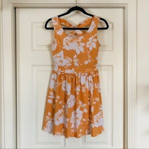 Orange Tropical floral dress.